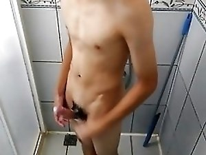 Young teen peeing and bathing
