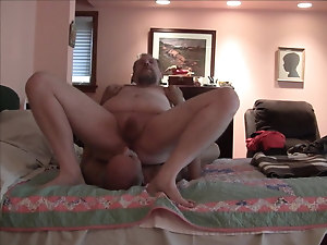 Playing wit mature hairy grandpa Dad spewing cum in his face