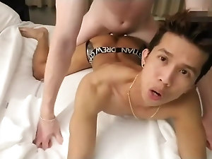 Cute little Asian guy fucked hard by a tall white hunk