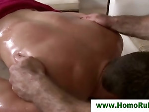 Straight guy seduced with massage