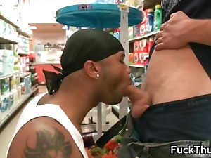 White ass gets dick sucked by thug