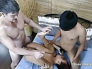 Daddy and Asian Boys Gay Threesome