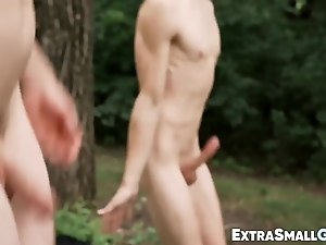 Short twink is jerking off while being bare drilled outside