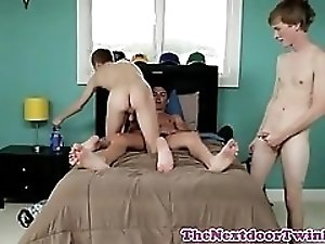 Teen trio assfucking until they shoot jizz
