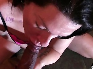 Shemale/Transexual sucking a big thick brown dick takes load to tits