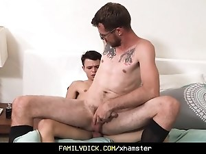 Tiny twink learns how to fuck his step dads tight hole