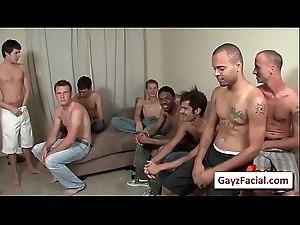 Bukkake Gay Boys - Nasty bareback facial cumshot parties 16