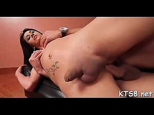Tranny rides dick swallows sperm