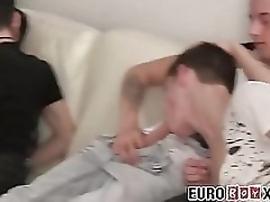 Handsome twinks with big uncut dicks ass fuck each other